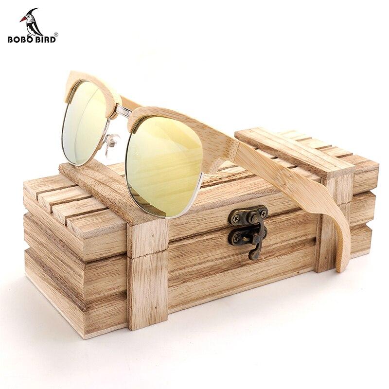 BOBO BIRD Natural Bamboo Men Women sunglasses Polarized Retro Fashion Eyewears Customize Logo V-BG016