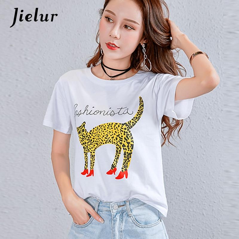 Jielur 11 Style Dog Letter Novelty White Cat T Shirt Female Print Kawaii Funny Tshirt Women S-XXL Korean Hipster T-shirts Summer
