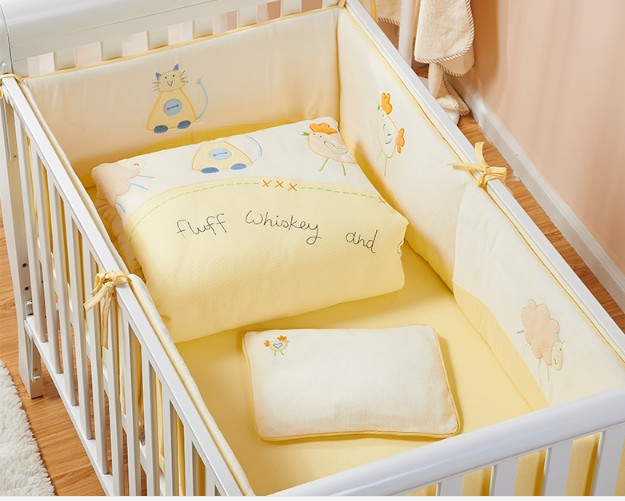Promotion! 7PCS Embroidered Baby Bedding Set Crib Bedding Set Comfortable Baby Bumper Set,(2bumper+duvet+sheet+pillow)