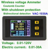 VAC 1030A Digital Ammeter Voltmeter Coulomb Counter Wireless Bi Directional Voltage Current Tester Power Meter DC