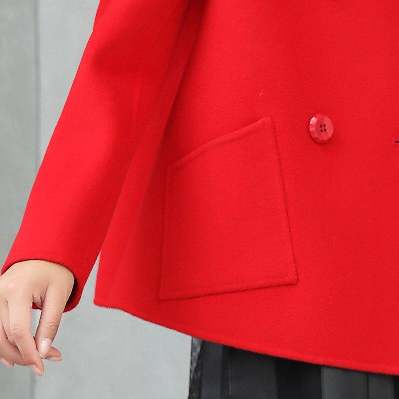 Double Femmes Breasted Manteaux Face Rouge Qualité Vestes Femelle Laine 100 Z284 Style Manteau Haute Court Pour Lady Réel Automne YwT0Fwq