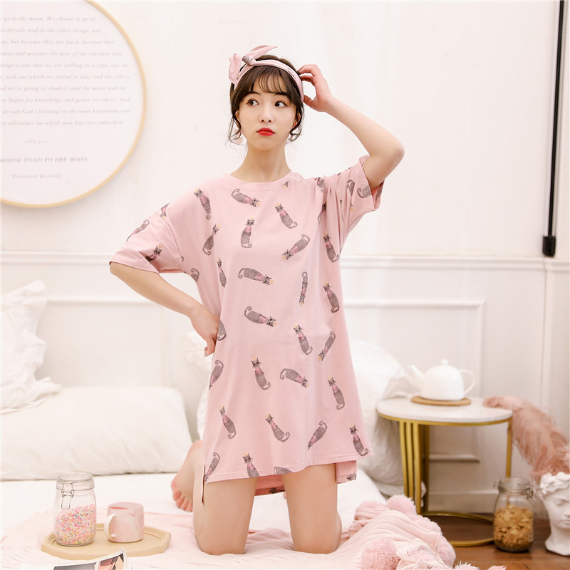 Summer Cotton Cartoon Sleepwear Short Sleeves   Nightgown   Round Neck Night Wear Lingerie   Nightgown   Korean Night Dress   Sleepshirts