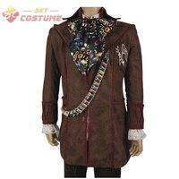 Alicja W Krainie Czarów Szalony Kapelusznik Johnny Depp Kurtka Spodnie Tie Pełny Zestaw Halloween Cosplay Kostiumy Dla Dorosłych Mężczyzn