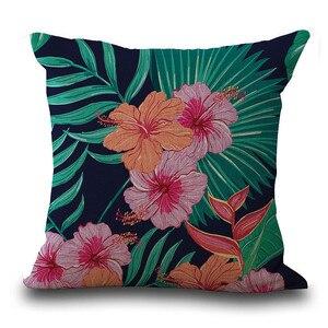 Image 2 - Folhas Tropicais Travesseiro Capa de Algodão Colorido Da Flor do vintage & sofá de Linho Cintura Lance Capa de Almofada Início arte decorativa