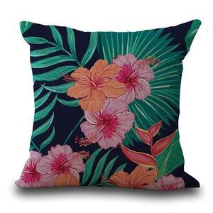 Image 2 - Vintage Çiçek Tropikal Yapraklar Yastık Kapak Renkli Pamuk ve Keten kanepe Bel Atmak minder kılıfı sanat dekoratif
