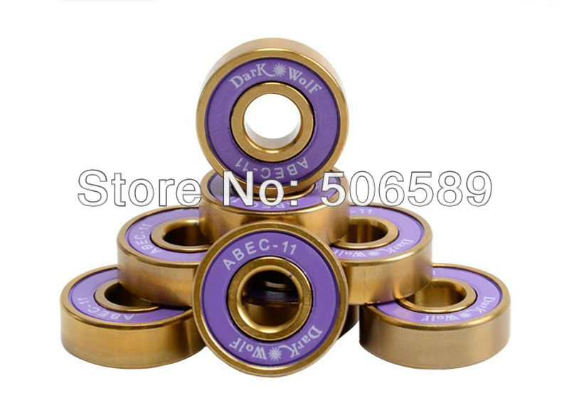 Free Shipping Bearings Titanium Gold Super Fast Long Lasting ABEC-11 8pcs/box  22*7mm