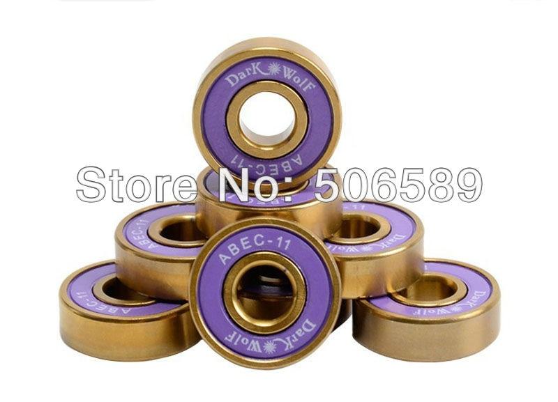 Free Shipping Bearings Titanium Gold Super Fast Long Lasting ABEC-11 8pcs/box  22*7mm