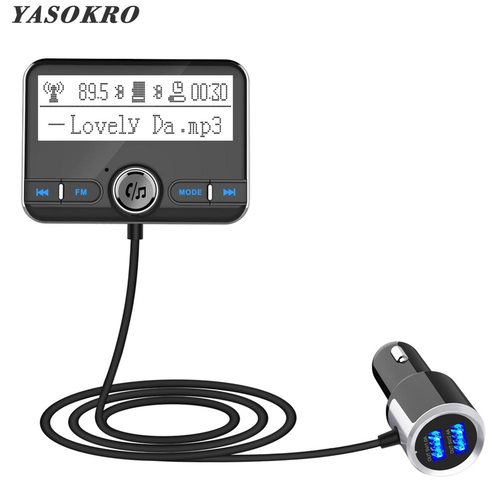 Yasokro bluetooth transmissor fm carro sem fio modulador fm carro mp3 player kit handsfree bluetooth carregador de carro com display lcd
