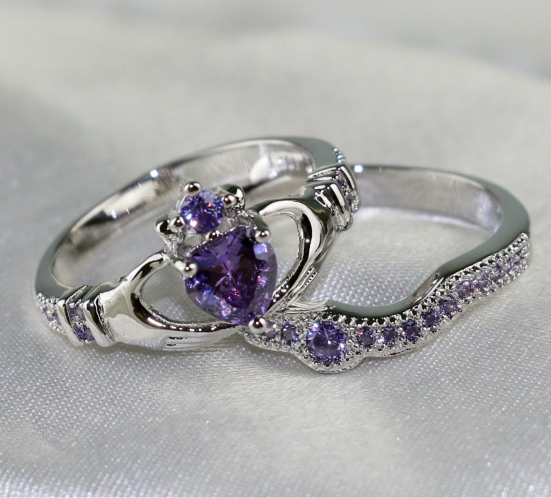 Claddagh Ring Black Gold Filled 1CT Heart Amethyst CZ Women/'s Wedding Ring Sets