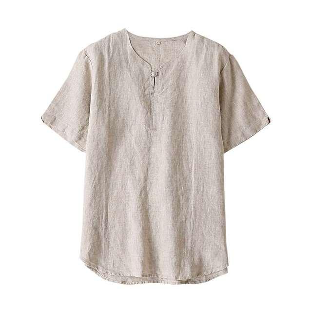 Trui Met Blouse Kraag.Te Koop 2019 Shirts Mannen 100 Zuiver Linnen Korte Mouw Slim Trui