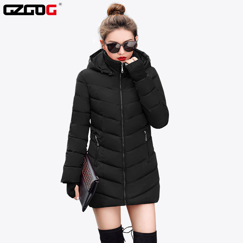 Warm Coat Padded Basic-Jacket Hooded Female Plus-Size Medium-Long Cotton Slim Winter