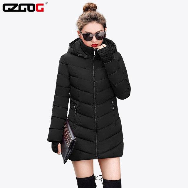 2019 נשים חורף ברדס חם מעיל דק בתוספת גודל כותנה מרופדת בסיסי מעיל נשי בינוני ארוך jaqueta feminina