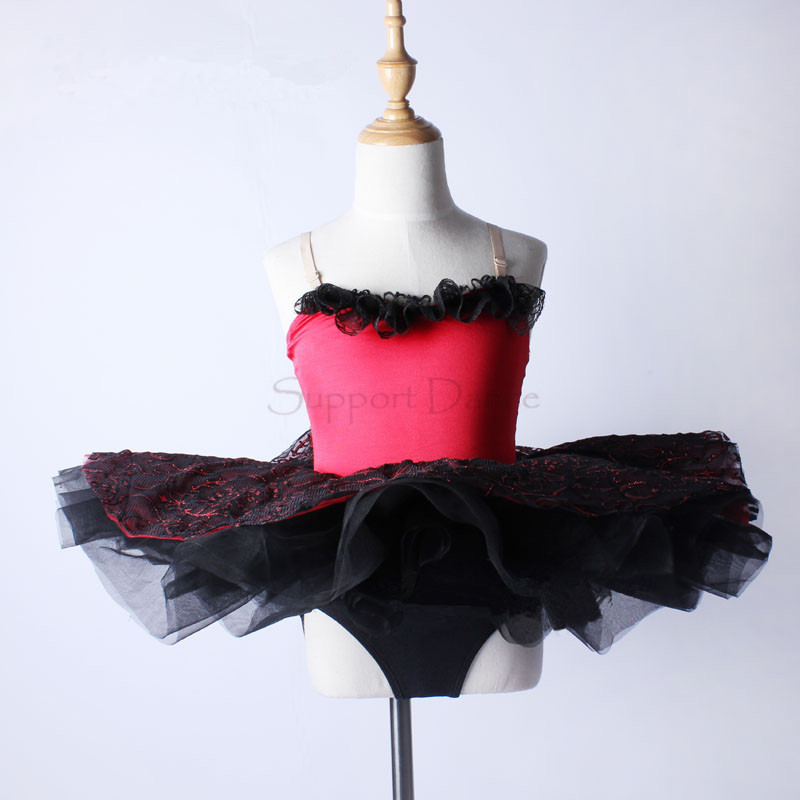 Atbalsta deju meiteņu sarkano mežģīņu baleta Tutu kleita bērniem profesionālās dejas kostīms C113