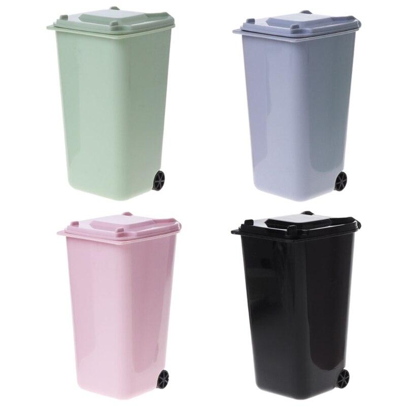 acheter en ligne 9ac67 36f9b € 2.11  Mini poubelle à roulettes porte stylo bac de rangement organiseur  de bureau seau à ordures recyclage Mini organiseur outil Escritorio-in ...