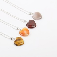 Wholesale natural stone pendant heart-shaped tiger eyes necklace quality stainless steel