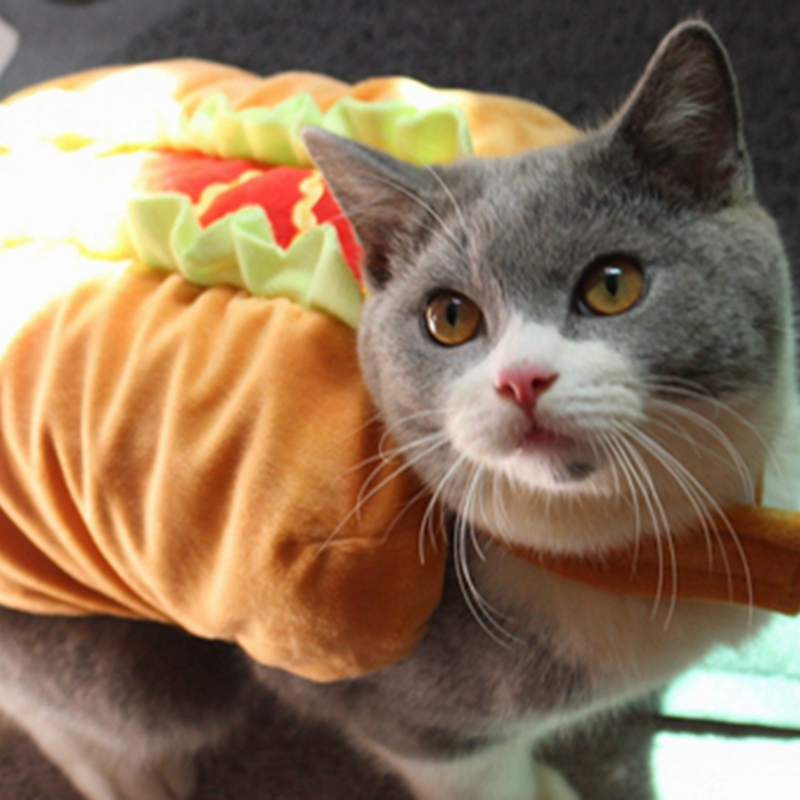 [MPK Pet Costumes] Pet Dog and Cat Costume, Cute Hotdog Sandwich Costume,  Funny Hot Dog Clothes, Cat Costume