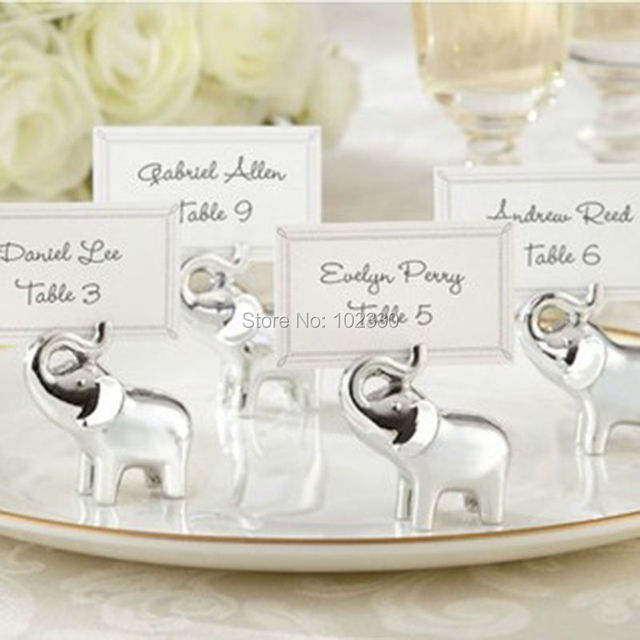 silver elephant name number menu table place card holder clip