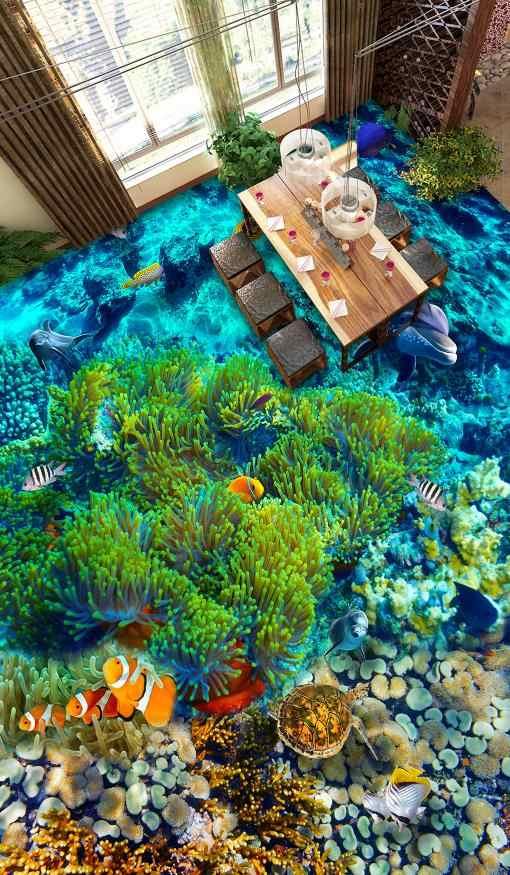 אישית 3d ריצוף עצמי דבק אצות אוקיינוס 3d ריצוף 3d קיר ציורי קיר טפט