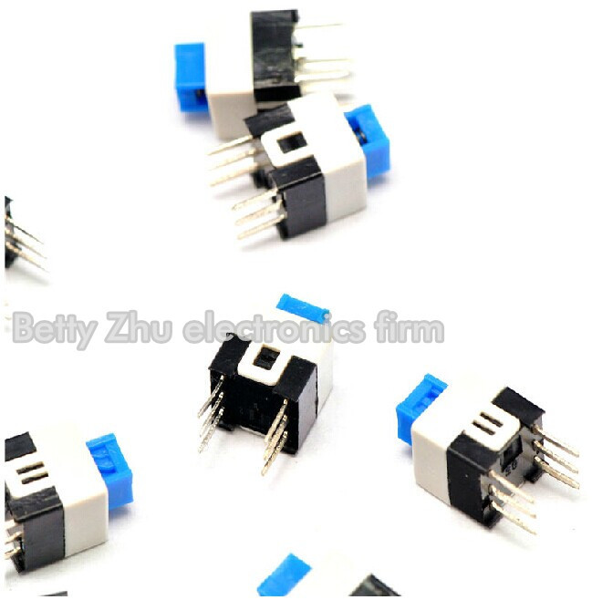 1000pcs/lot 7 * 7mm Flat Head No Lock Switch Double / 6 Feet Not Lockable Lustrous Surface