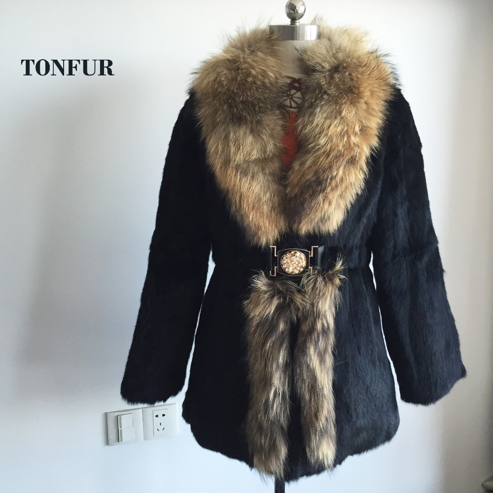 2019 New Vintage Design Full Pelt Genuine Real Rabbit Fur Coat With Luxury Big Raccoon Fur Collar Thick Warm Fur Outwear SR139