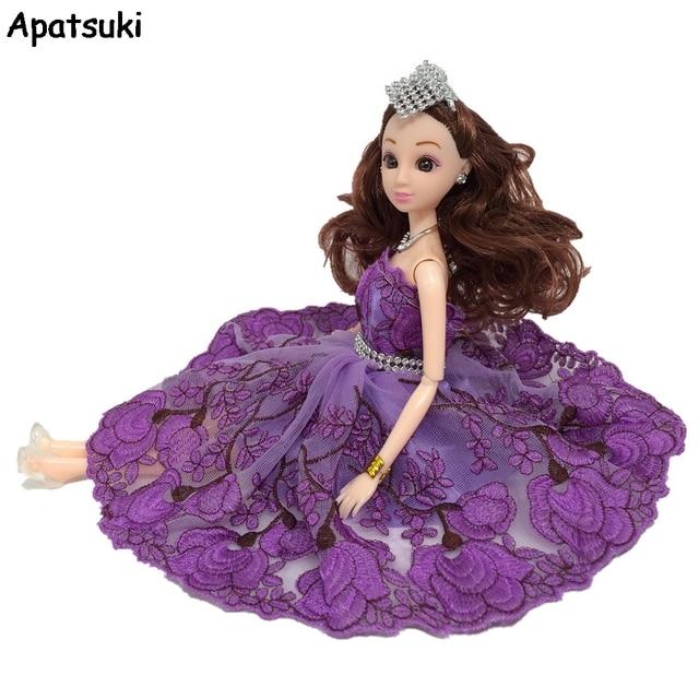 Ungu Bunga Tarian Kostum Modis Baju untuk Boneka Barbie Gaun Renda 1 6  Pesta Gaun 2adfa31805
