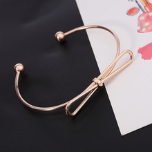 SUKI New Fashion Jewelry Bracelet Bangles Female Charm Gold Color Bow Opening Simple Cute Girl Women Bangle Wholesale