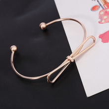 SUKI New Fashion Jewelry Bracelet Bangles Female Charm Gold Color Bow Opening Simple Bangles Cute Girl Women Bangle Wholesale(China)