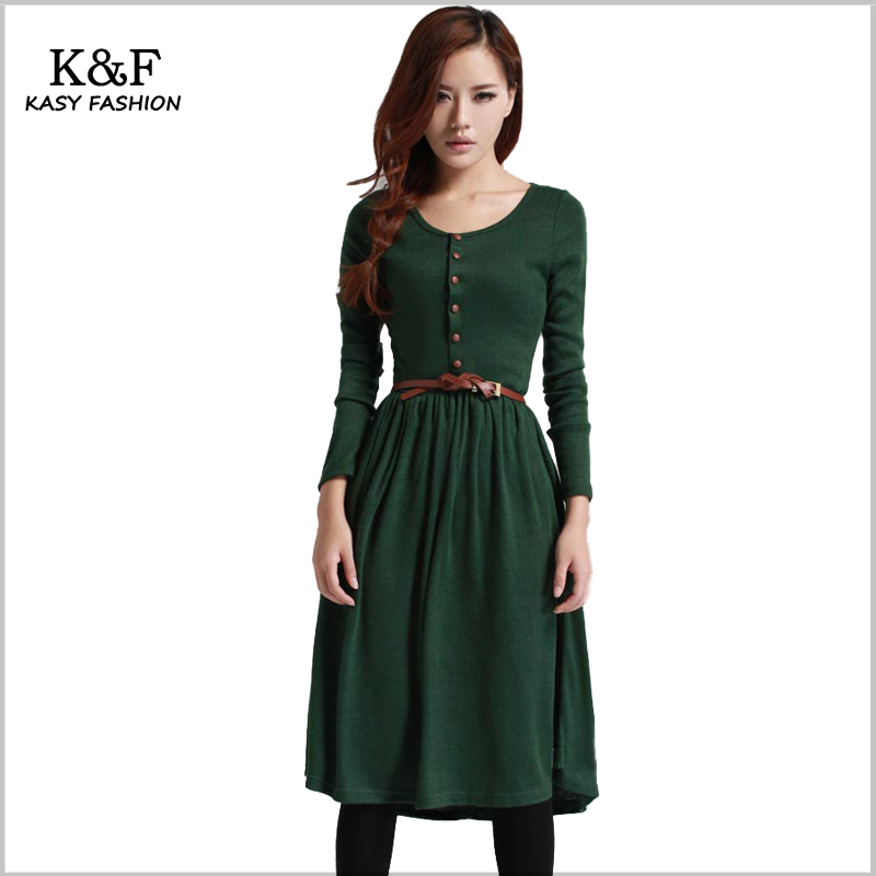 Winter Knitted Dress 2018 Women Casual Long Sleeve Vintage Fluffy Dress Large Size Winter Dress les femme Flared Robes zip back fit and flared plaid dress