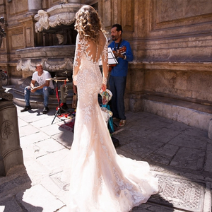 Image 2 - Long Sleeves Double Shoulder Appliqued Lace Wedding Dresses 2019 Mermaid/Trumpet Train Illusion bridal gown dress