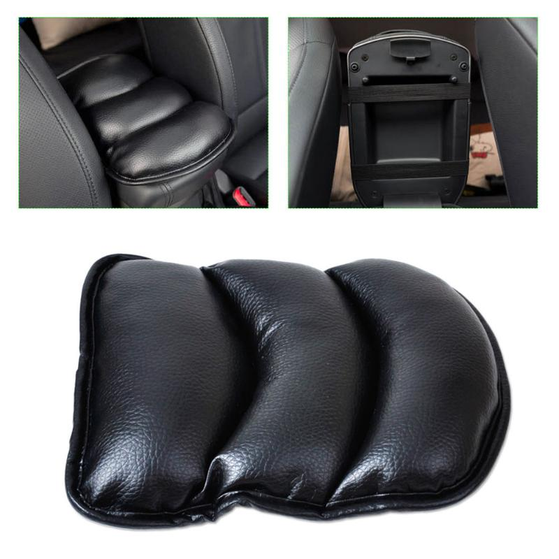 Grey Car SUV Armrest Box Mats Console Pad Liner Cushion Cover PU Leather