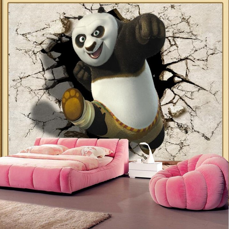 Custom large murals,3d Cartoon panda papel DE parede,living room sofa tv background  children bedroom wallpaper for walls 3 d custom 3d murals cartoon wolf papel de parede hotel restaurant coffee shop living room sofa tv wall children bedroom wallpaper