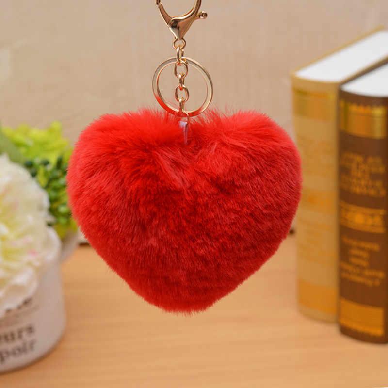 Dễ thương Lông Tơ Pompom Móc Chìa Khóa Xe Ô Tô Túi Pompon Trái Tim Lớn Phong Cách Lông Thỏ Bóng Móc Khóa Móc Khóa Pom Pom KeyRings bộ trang sức Nữ