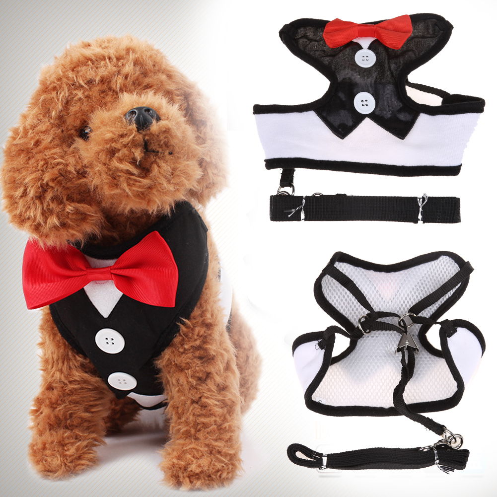 Dog Chest Harnesses Lead Leash Strap Belt For Pets Velvet Bowtie Gentleman Suit Boy Tuxedo Easy Walk Harness Vest for Cat Puppy