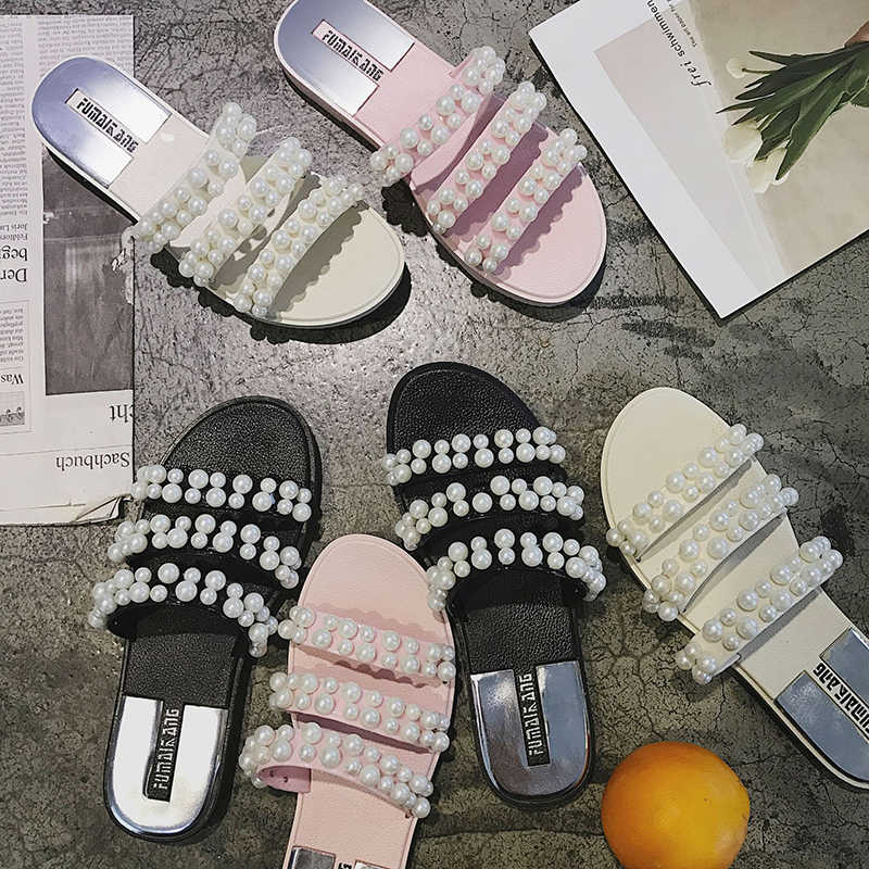 Fashion Pearl Open toe Sandals mujer three band flat summer shoes all-match slides beach cozy slippers brief flip flops feminino