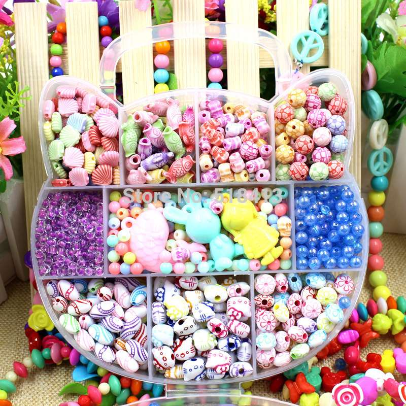 HOGNSIGN Girl Beaded Toys Kindergarten Education Manual Scattered Bead Material 4 To 7 Years Old Children Jewelery Making Toy