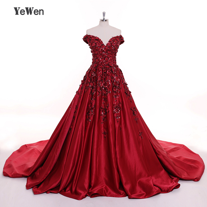 Luxuary Sexy V Design Long Burgundy Gold Evening Dresses 2018 Flower Sequined Party Gown Prom Dress