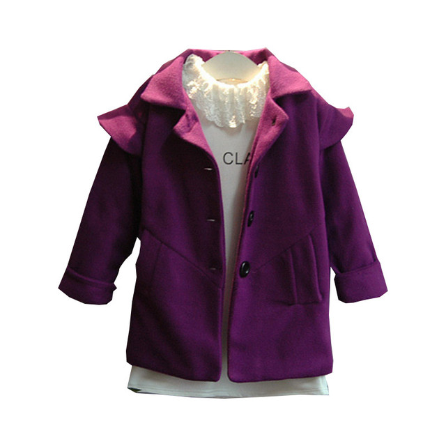Autumn Winter Baby Girl Wool Coat England Style Long Sleeve Turn Down Collar Purple Children Outwear Kids Jackets&Coats 2-7Years