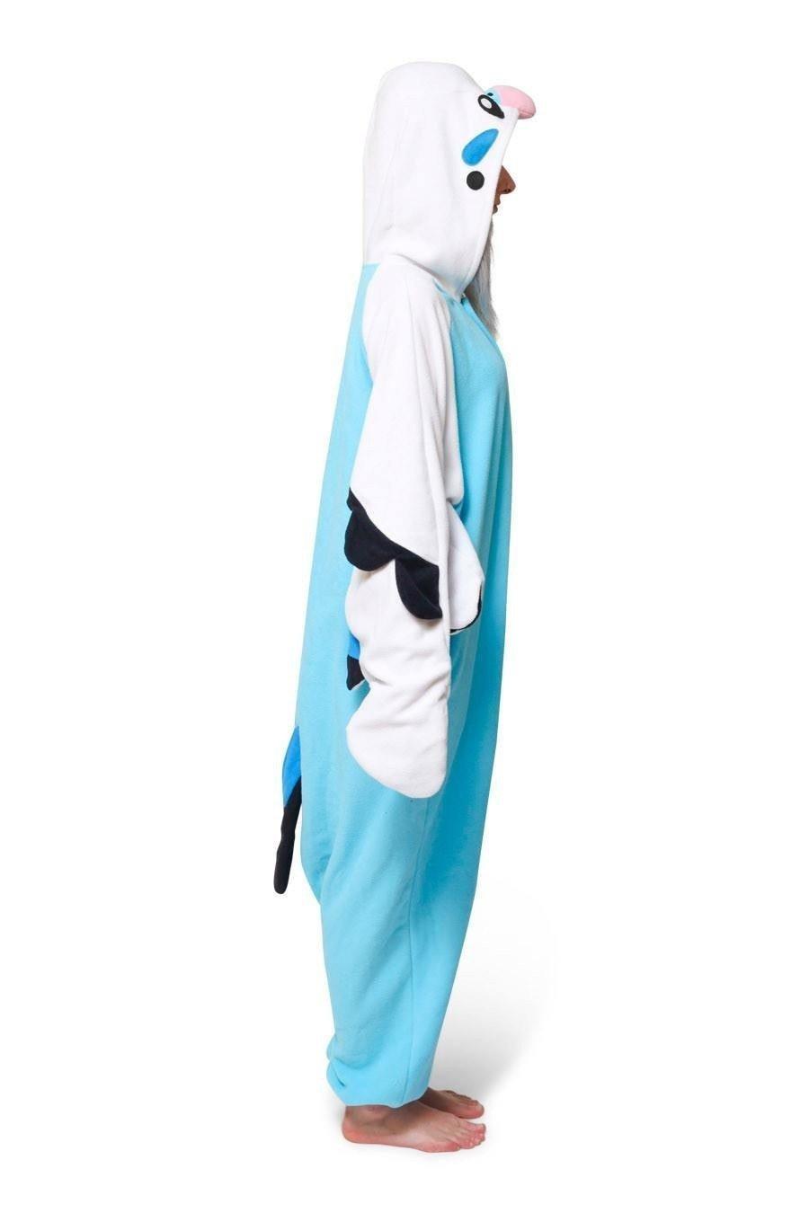 Unisex Fleece Adult Piplup Blue Parrot Onesies Animal Cosplay Costume Halloween Xmas Pajama
