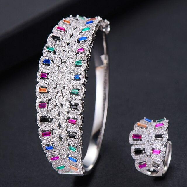 3c5d4fdf373c Missvikki hecho a mano puntas configuración AAA CZ brazalete de anillo conjunto  joyas lujo hermosa geométrico para las mujeres joyería nupcial la boda