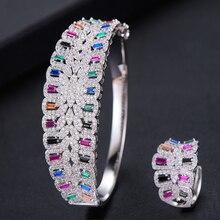 missvikki Handmade Prong Setting AAA CZ Bangle Open Ring Jewelry Set Luxury Gorgeous Geometric for Women Bridal Wedding Jewelry