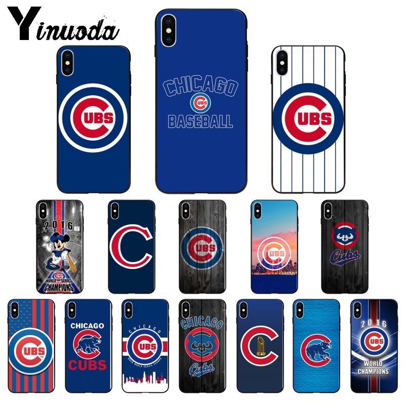 Yinuoda Chicago Cubs Baseball TPU Soft Silicone Black Phone Case for iPhone X XS MAX 6 6s 7 7plus 8 8Plus 5 5S SE XR