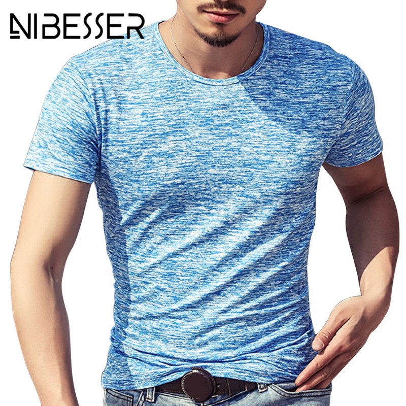 08c6a0e77425 NIBESSER 2019 NEW Trendy Summer Men T Shirt Casual short Sleeve Slim Men s  Basic Tops Tees