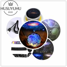 Interstellar Creative Night Light Planet Magic Projector Universe Lamp LED Music Rotary Flashing Starry Projector Xmas(China)