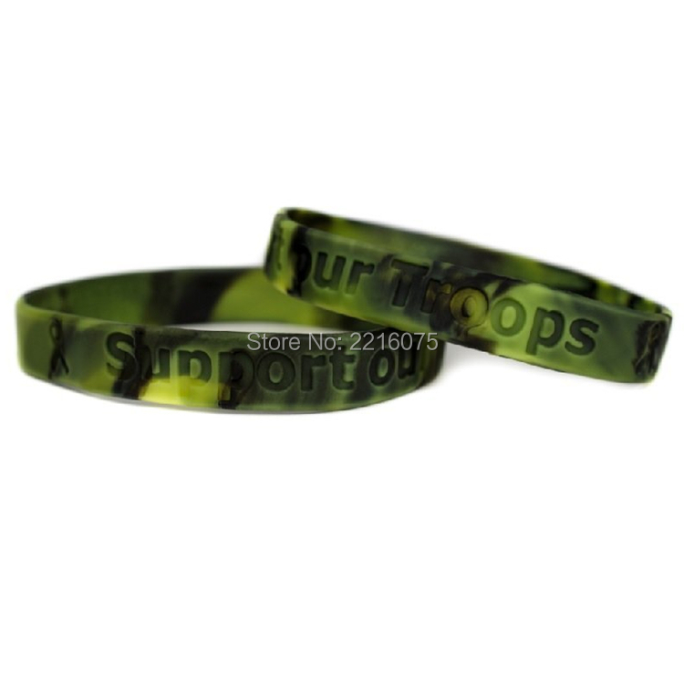 300pcs Support Our Troops Green Camo Camouflage Silicone Wristband Rubber Bracelets Free Shipping By Dhl Express In Cuff From Jewelry