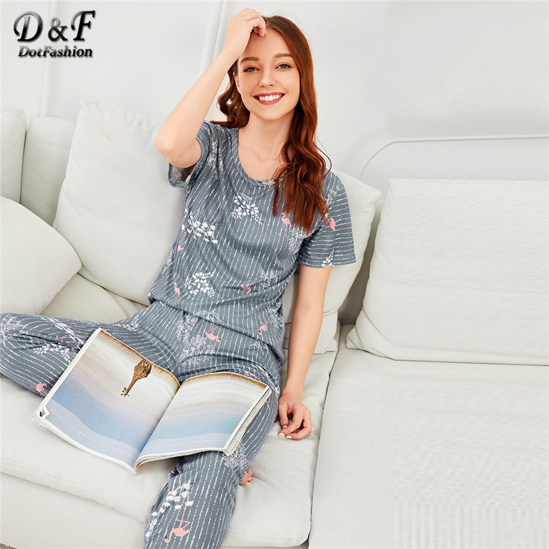 Dotfashion Grey Flamingo Leaf Print Striped Pajama Set Women Autumn Clothing 2019 Casual Nightwear Spring Short Sleeve Sleepwear