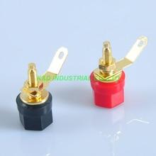 цена на 10pairs Gold Plate Tube Amp Terminal Binding post 4mm Banana Jack Red and Black
