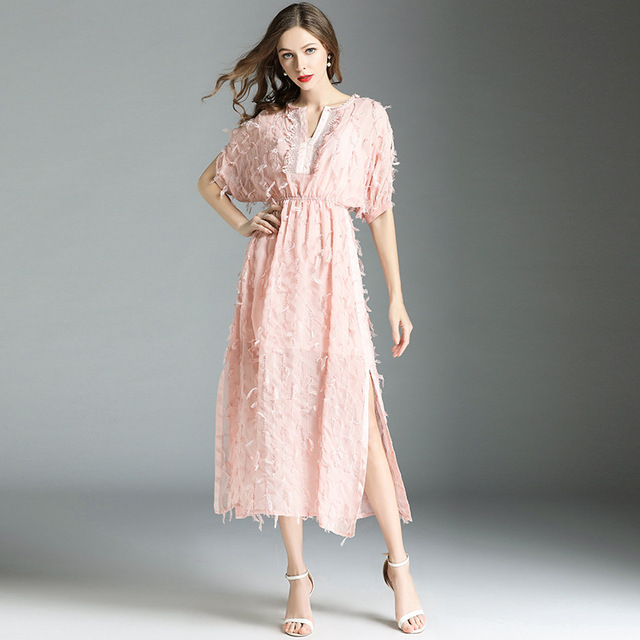 LARCI summer women sexy pink dress fashion hollow out dresses tassel feather casual slim vintage party vestidos N6311