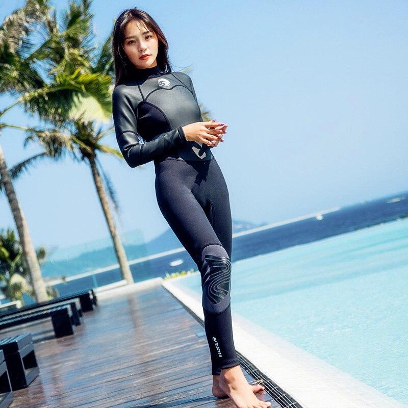 M098 son ea 2018 nouvelle 1.5mm plongée costume de femmes à manches longues pantalon surf maillot snorkeling costume