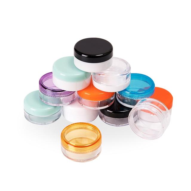 Bote redondo pequeño transparente para crema, 3g X 200, contenedor vacío de plástico para cosméticos, recipiente de muestra para almacenamiento para Nail Art