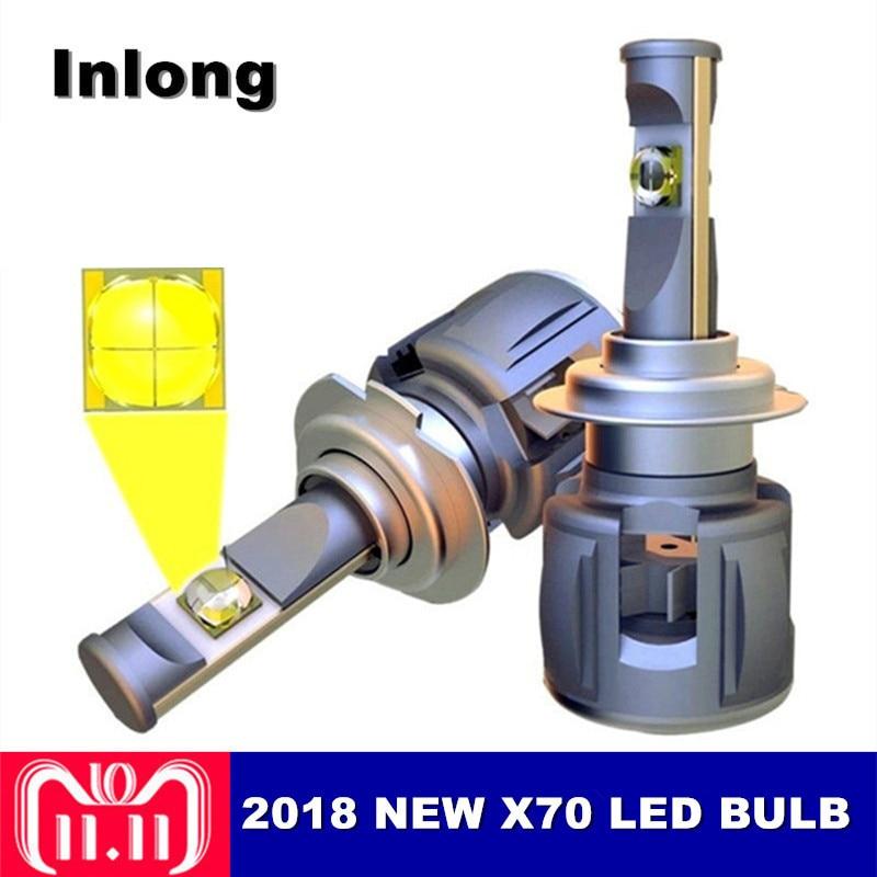 Inlong 2 pcs X70 H4 H7 Voiture LED Phare Ampoule H11 9005 9006 HB4 D1S D2S D3S D4S Cree Puces 120 w 15600LM Phare Brouillard Lumières 6000 k